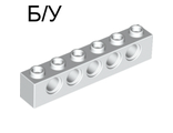 ! Б/У - Technic, Brick 1 x 6 with Holes, White (3894 / 389401) - Б/У