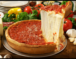 Чикаго- стайл пицца с лососем и шпинатом (нажмите на пиццу и выберите вес)