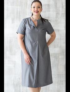 Платье с вертикальной складкой 2845-PL (серый). Размерный ряд: 48-60