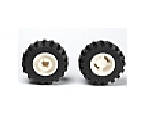 Wheel 11mm D. x 12mm, Hole Notched for Wheels Holder Pin with Black Tire Offset Tread Small Wide, Band Around Center of Tread 6014b / 87697, White (6014bc05)