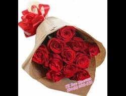 15 красных роз букет каскадом Презент