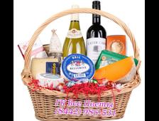 Продуктовая подарочная корзина с вином Пассаж