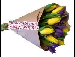Букет Желтых Тюльпанов (8 штук) с синими Ирисами (7штук)