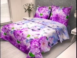 САКУРА ФИОЛЕТОВАЯ.  Комплект постельного белья из набивной бязи традиции текстиля, цельнокройное, хлопок 100%
