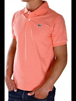 Поло Lacoste однотонная с логотипом, цвет розовый