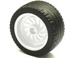 Wheel 18mm D. x 12mm with Axle Hole and Stud with Black Tire 24 x 12 Low 18976 / 18977, White (18976c01)