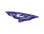 Cloth Sail Triangular 16 x 23 with 3 Holes with Dark Purple and Medium Azure Ornaments and Water Power Icon Pattern, White (sailbb59 / 6097438)
