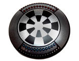 Minifig, Shield Round with Rounded Front with Dart Board Dejarik Hologame Board Pattern, Black (75902pb07 / 6127398)