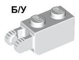 ! Б/У - Hinge Brick 1 x 2 Locking with 2 Fingers Vertical End, White (30365 / 4144504) - Б/У
