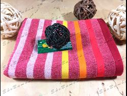 Бамбуковое полотенце спорт класс 48х98 Бамбук-хлопок полоски малинки