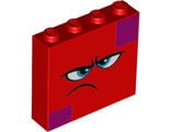 Brick 1 x 4 x 3 with Dark Azure Eyes, Furrowed Eyebrows, Frown and Magenta Squares on Two Corners Pattern Queen Watevra WaNabi Face, Red (49311pb02 / 6263004)