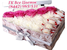 Нежная гамма цветов в коробке с конфетками