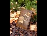 Обложка на паспорт из натуральной кожи с цветочным орнаментом