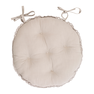 ПОДУШКА 200555 ROUND CHAIR PAD SOLENE BEIGE D40CM COTTON+LINEN