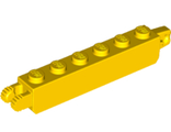 Hinge Brick 1 x 6 Locking with 1 Finger Vertical End and 2 Fingers Vertical End, 7 Teeth, Yellow (53914 / 6265687)