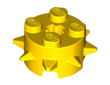 Brick, Round 2 x 2 with Spikes and Axle Hole, Yellow (27266 / 6215043)