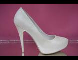 1 Туфли свадебные айвори на скрытой платформе высокий каблук украшены выбитой кожай № 1120-05=1