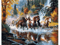 Картина (раскраска) по номерам на холсте - Табун лошадей, худ. Марк Китли GX 9138