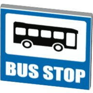 Road Sign Clip-on 2 x 2 Square Open O Clip with Bus and BUS STOP Pattern, White (15210pb020 / 6155407)