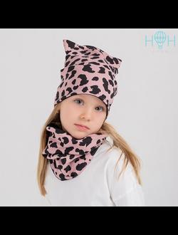 ШВ19-10862190 Шапка - кошка двухслойная трикотажная, розовый леопард