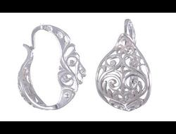 Серебряные серьги с орнаментами сн011