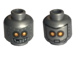 Minifig, Head Dual Sided Alien Robot Yellow Eyes, Mask with Metal Bolts, Closed Mouth / Open Mouth Pattern - Stud Recessed, Flat Silver (3626cpb1502 / 6125244)