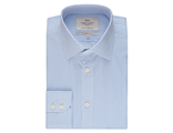 Рубашка HAWES & CURTIS Men's White & Blue Grid Check Slim Fit Shirt - Single Cuff - Easy Iron