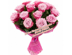 15 розовых роз букетом Ангел