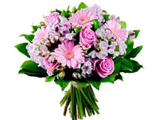 Букет из розовых Гербер и Альстромерии Сиреневый Туман