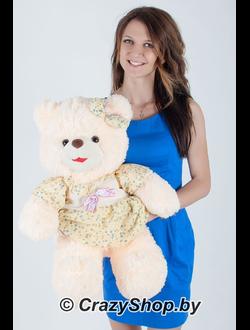 """Плюшевая медведица """"Джулия"""" кремового цвета 70 см."""