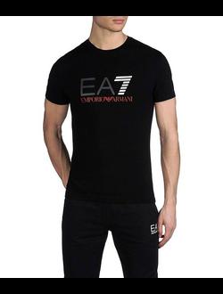 Футболка EA7 Emporio Armani однотонная с логотипом, цвет черный