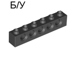 ! Б/У - Technic, Brick 1 x 6 with Holes, Black (3894 / 389426) - Б/У
