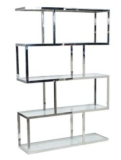 Этажерка SHELF DEDALI 120X35X180CM STAINLESS STEEL+GLASS арт. 30973