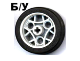! Б/У - Wheel 36.8 x 14 ZR with Axle Hole, 3 Pin Holes, and Black Rubber Tire Glued On, Light Gray (44293c01 / 4270685) - Б/У