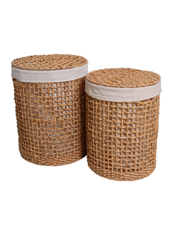 Набор корзин из 2х штук, PASIL Panier ? linge rond x2 Set of 2 round laundry baskets Naturel / Natural Jacinthe d'eau + fer + coton / Water hyacinth + iron + cotton D42 x H55 + D37 x H51cm