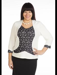 Блуза 378-Lux (белый) Размеры: 54-68