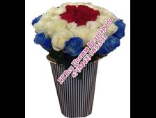 41 роза букетом Триколор