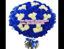 Синии розы с белой розой букет Изюменка