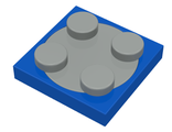 Turntable 2 x 2 Plate with Light Gray Top, Blue (3680c01)