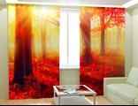 Фотошторы - Красный лес