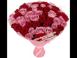 101 красная и розовая роза букетом