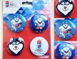 Значки с талисманом Лайкой ЧМ-2016 по хоккею (набор №1)
