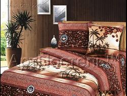 КОФЕ.  Комплект постельного белья из набивной бязи традиции текстиля, цельнокройное, хлопок 100%