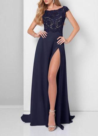 d28672f6344 Длинное черное платье на свадьбу с кружевным верхом и высоким разрезом на  ноге из гипюра и