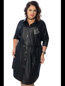 Платье-рубашка под кожу Wisell-П4-3414/1-черный (52-60)