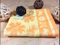 Бамбуковое полотенце спорт класс 48х98 Бамбук-хлопок Цветочки солнечно-оранжевый