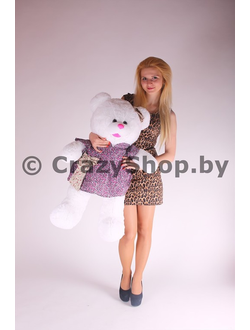 """Плюшевая медведица """"Джулия"""" белого цвета 110 см."""