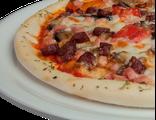 Пицца Фермерская  29 см, 550 гр: ветчина, колбаски охотничьи, зажарка из баклажанов, болгарского перца и лука, сыр Моцарелла, соус томатный, зелень, 1557 Ккал