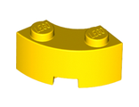 Brick, Round Corner 2 x 2 Macaroni with Stud Notch and Reinforced Underside, Yellow (85080 / 4557533 / 6064227)