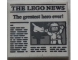 Tile 2 x 2 with 'THE LEGO NEWS' and 'The greatest hero ever!' Pattern, White (3068bpb1105 / 4655208)
